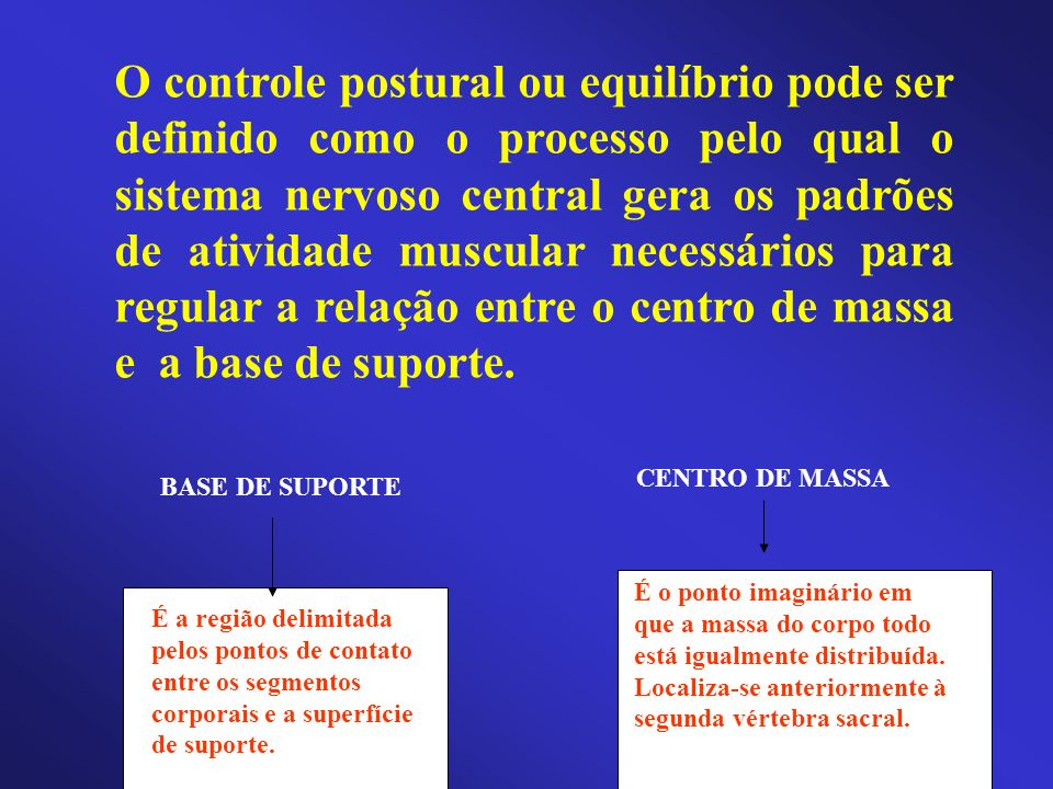 O controle postural ou equilíbrio pode ser definido como o processo pelo qual o sistema nervoso central gera os padrões de atividade muscular necessários para regular a relação entre o centro de massa e a base de suporte.