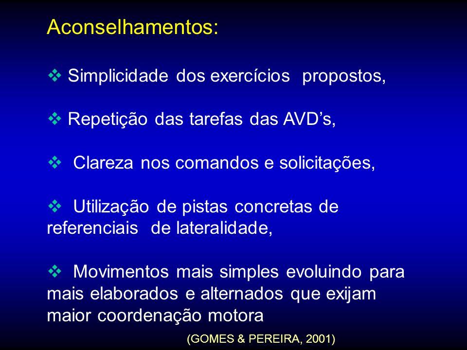 Aconselhamentos: Simplicidade dos exercícios propostos,