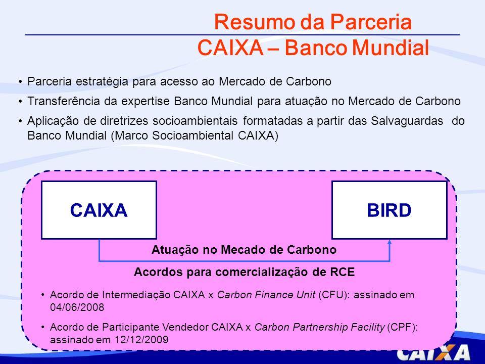 Atuação no Mecado de Carbono Acordos para comercialização de RCE