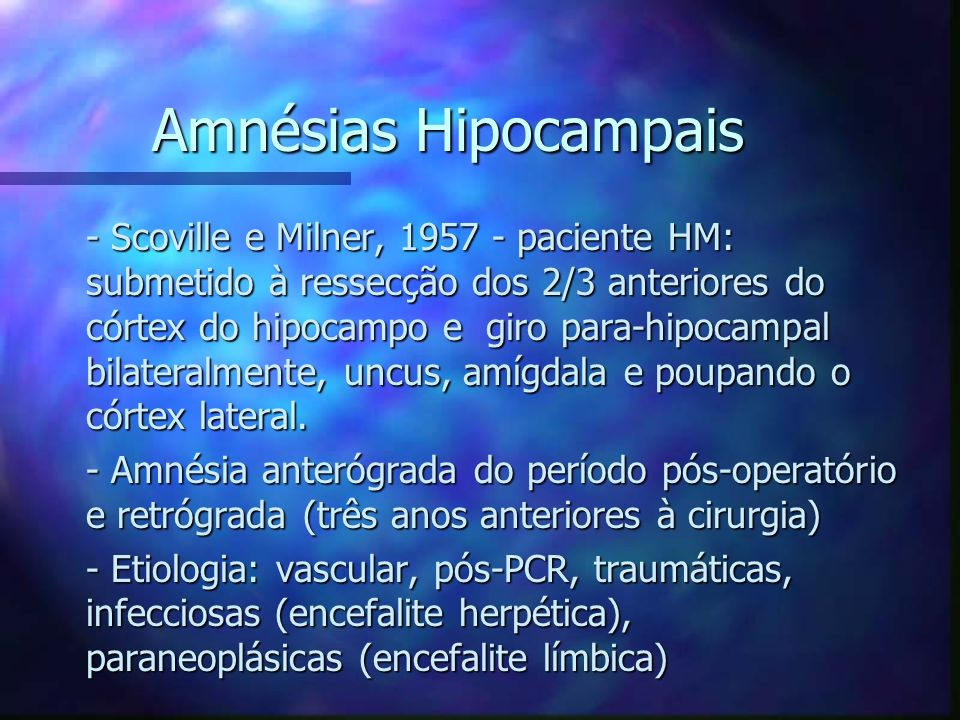 Amnésias Hipocampais