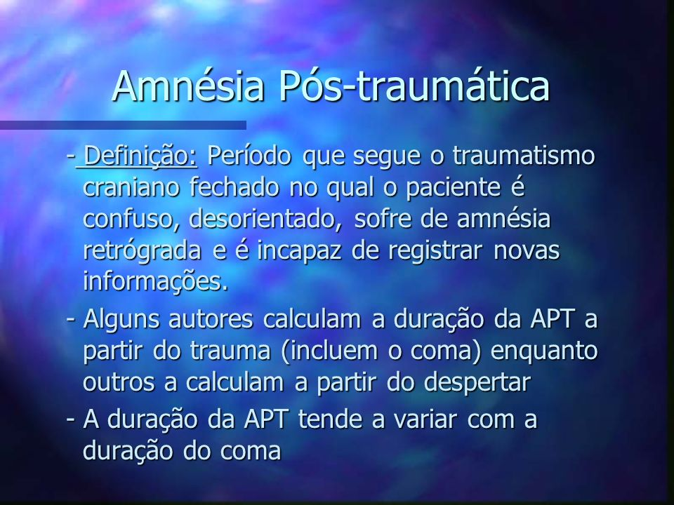 Amnésia Pós-traumática