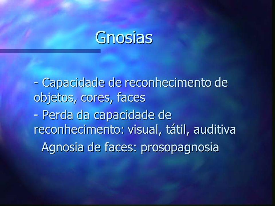 Gnosias - Capacidade de reconhecimento de objetos, cores, faces