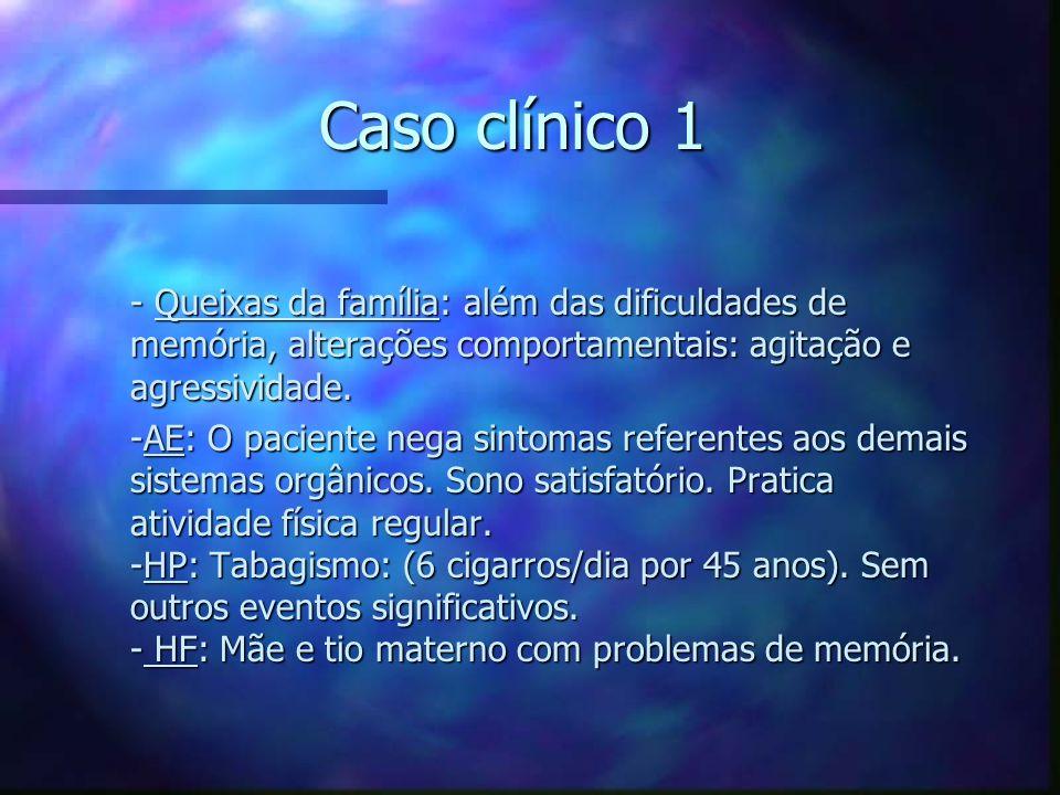 Caso clínico 1 - Queixas da família: além das dificuldades de memória, alterações comportamentais: agitação e agressividade.