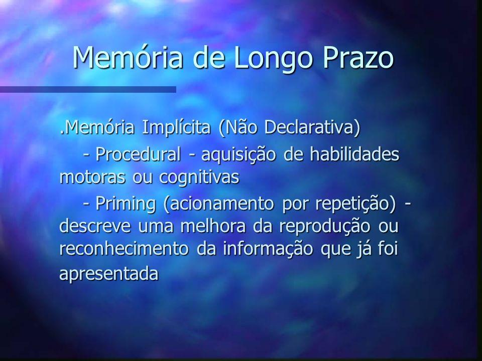 Memória de Longo Prazo .Memória Implícita (Não Declarativa)