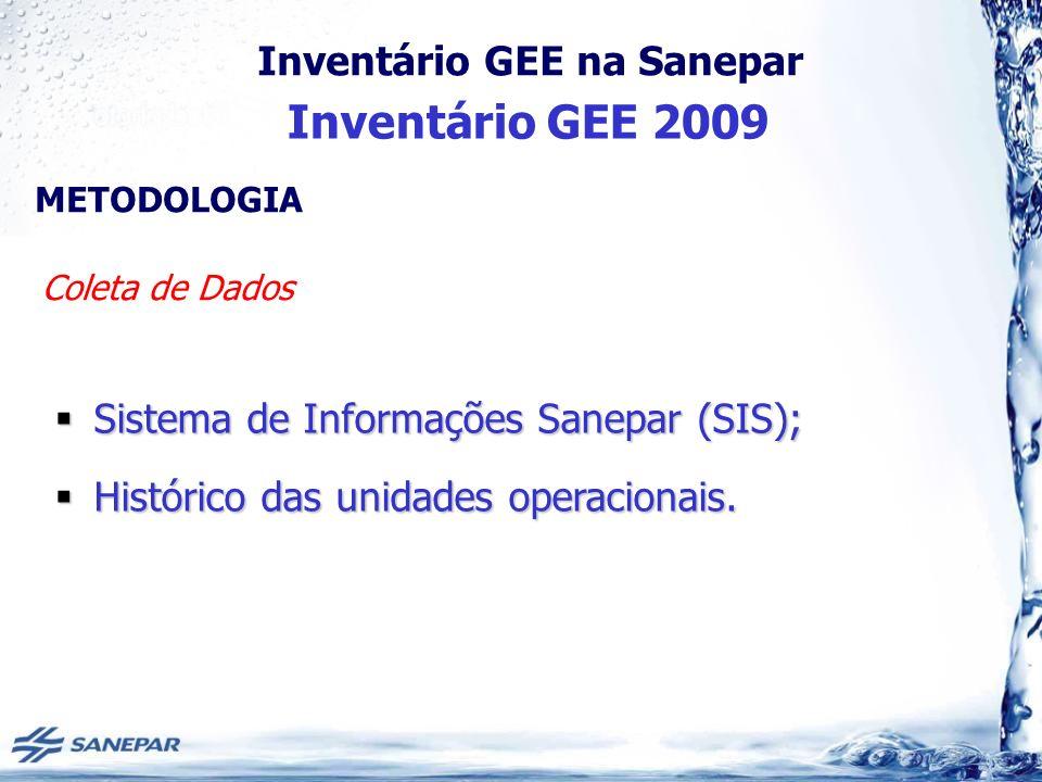 Inventário GEE 2009 Sistema de Informações Sanepar (SIS);