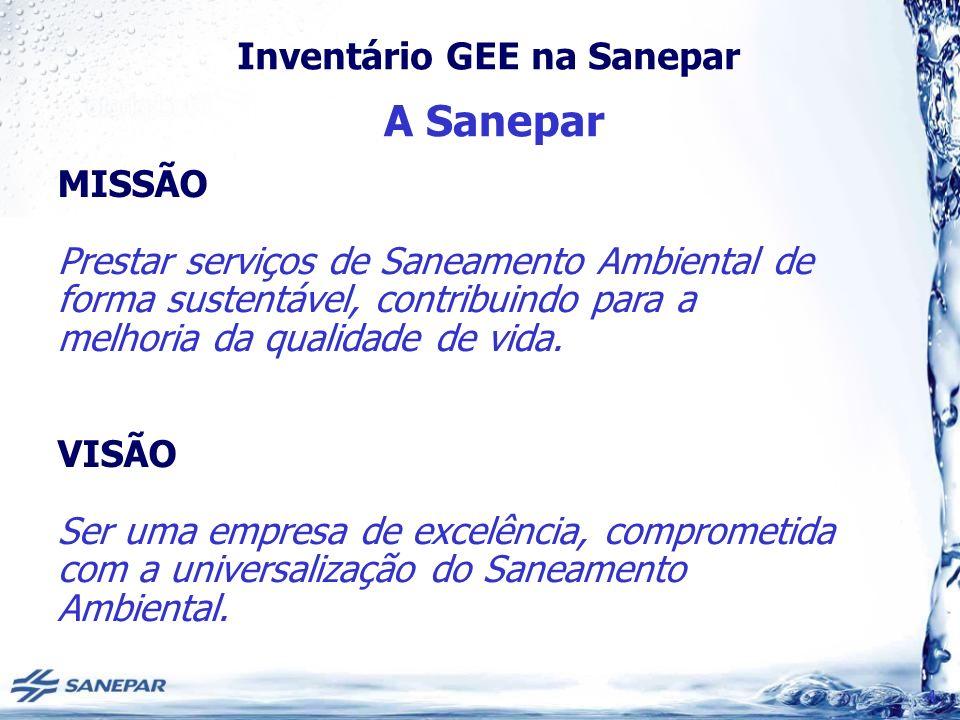 A Sanepar MISSÃO. Prestar serviços de Saneamento Ambiental de forma sustentável, contribuindo para a melhoria da qualidade de vida.
