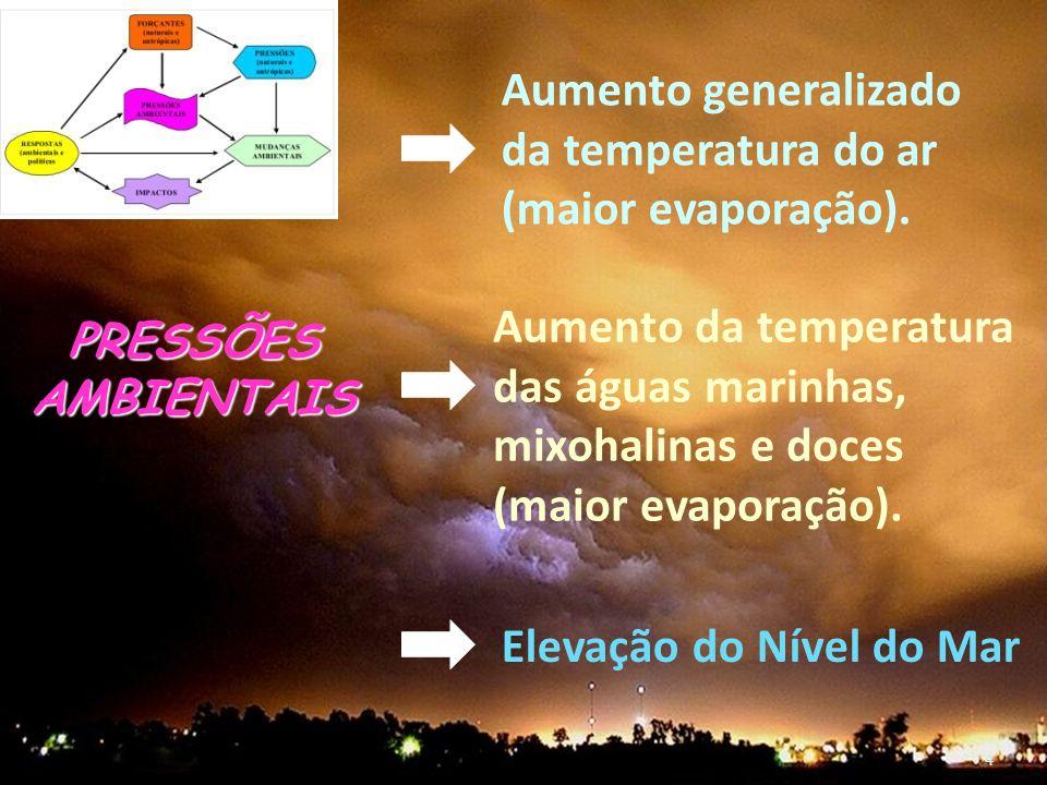 Aumento generalizado da temperatura do ar (maior evaporação).