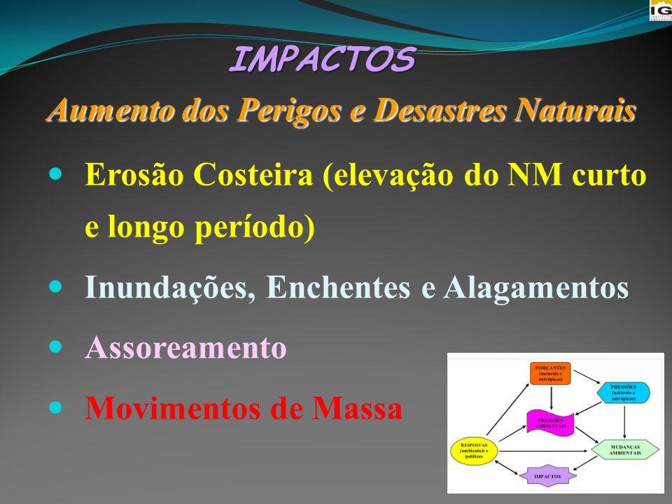 IMPACTOS Aumento dos Perigos e Desastres Naturais. Erosão Costeira (elevação do NM curto e longo período)