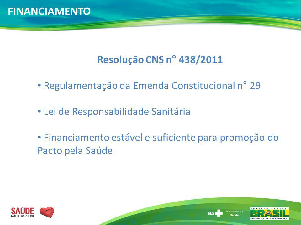 FINANCIAMENTO Resolução CNS n° 438/2011