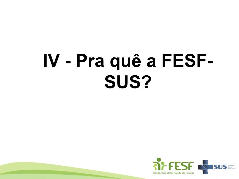 IV - Pra quê a FESF- SUS