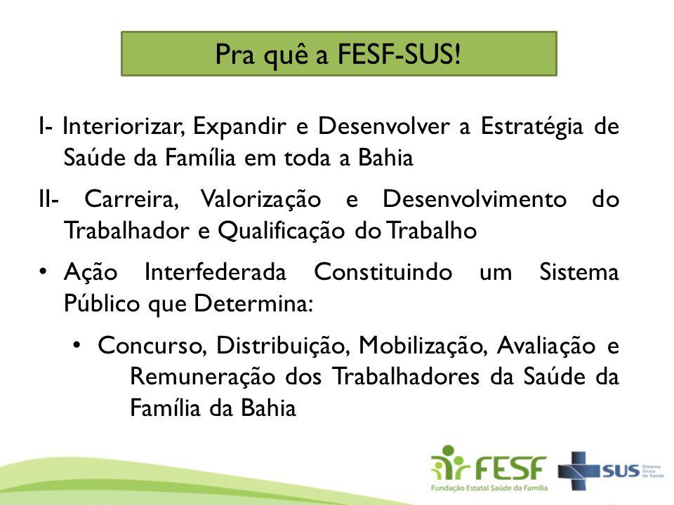 Pra quê a FESF-SUS! I- Interiorizar, Expandir e Desenvolver a Estratégia de Saúde da Família em toda a Bahia.