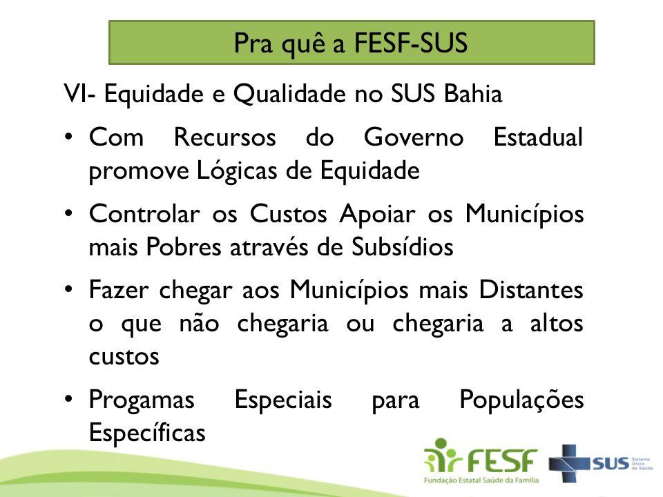 Pra quê a FESF-SUS VI- Equidade e Qualidade no SUS Bahia