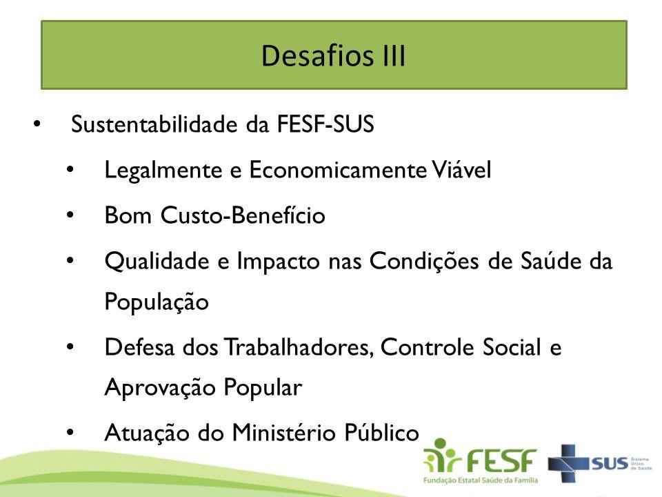Desafios III Sustentabilidade da FESF-SUS