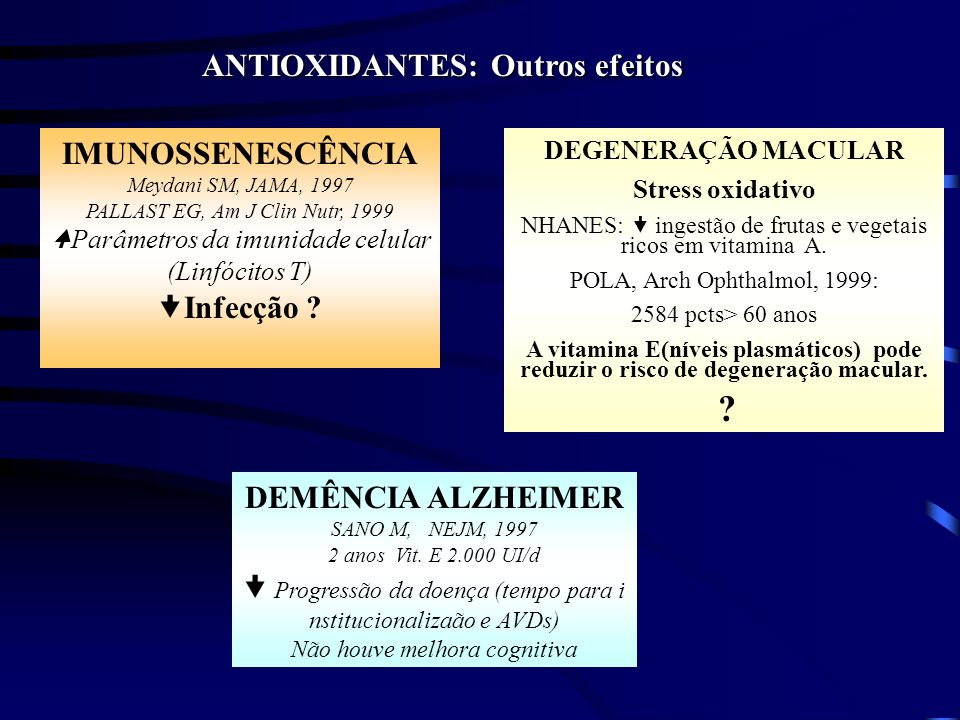 ANTIOXIDANTES: Outros efeitos
