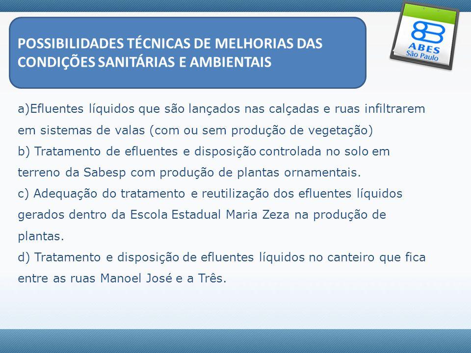 POSSIBILIDADES TÉCNICAS DE MELHORIAS DAS CONDIÇÕES SANITÁRIAS E AMBIENTAIS