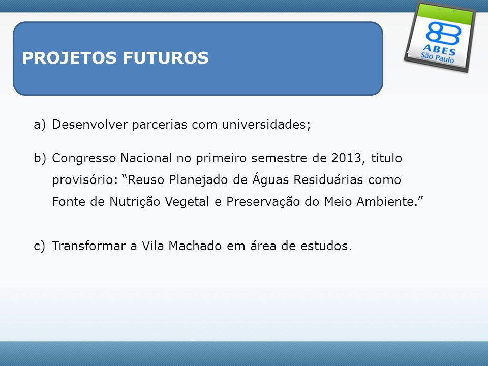 PROJETOS FUTUROS Desenvolver parcerias com universidades;