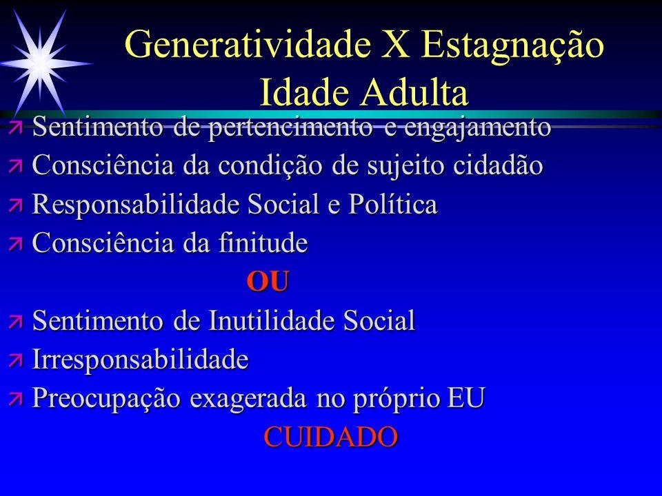 Generatividade X Estagnação Idade Adulta