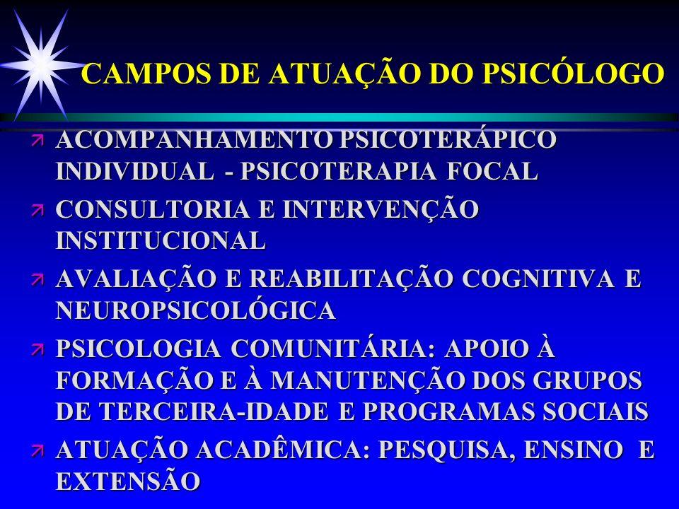 CAMPOS DE ATUAÇÃO DO PSICÓLOGO