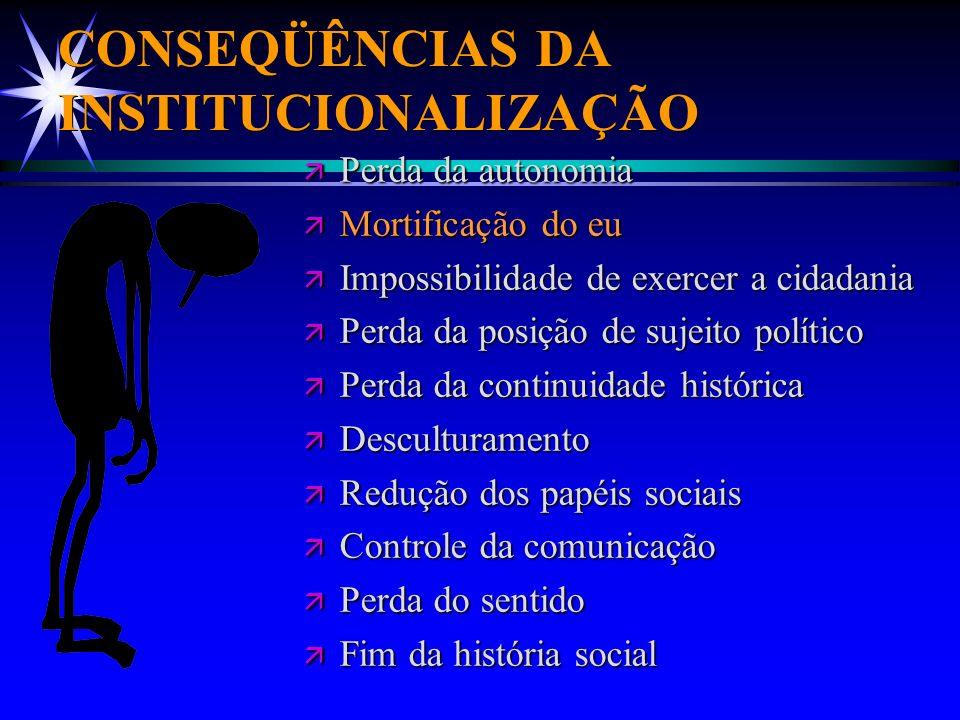 CONSEQÜÊNCIAS DA INSTITUCIONALIZAÇÃO