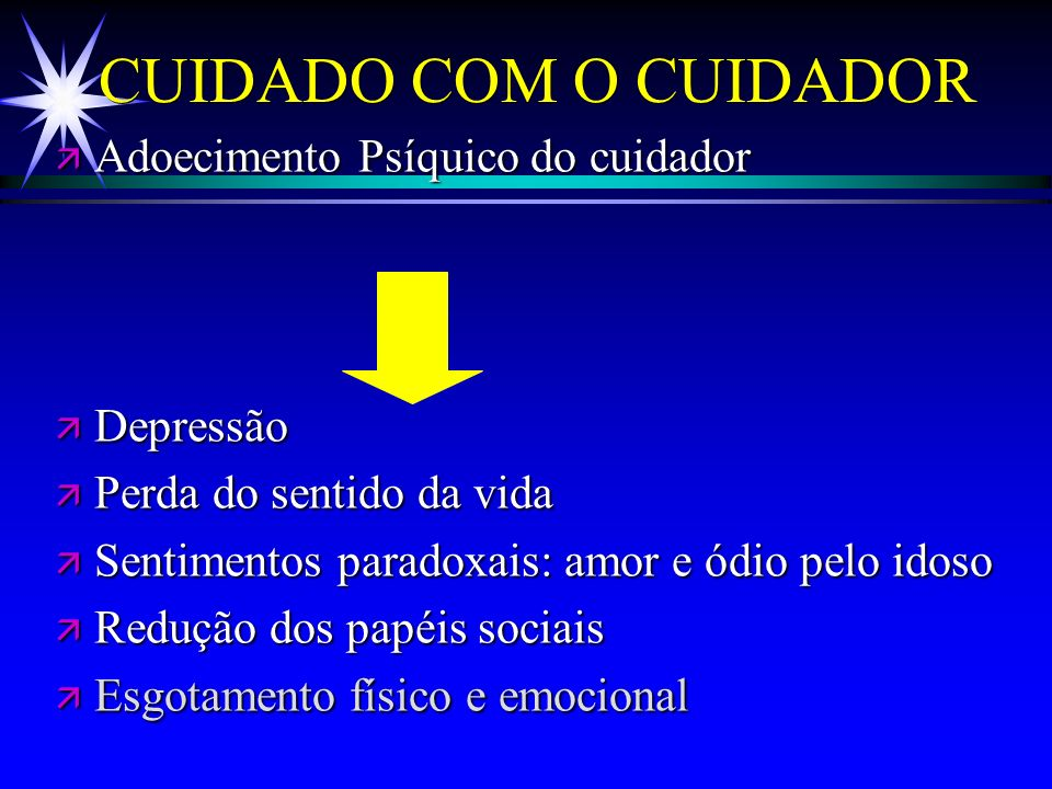 CUIDADO COM O CUIDADOR Adoecimento Psíquico do cuidador Depressão