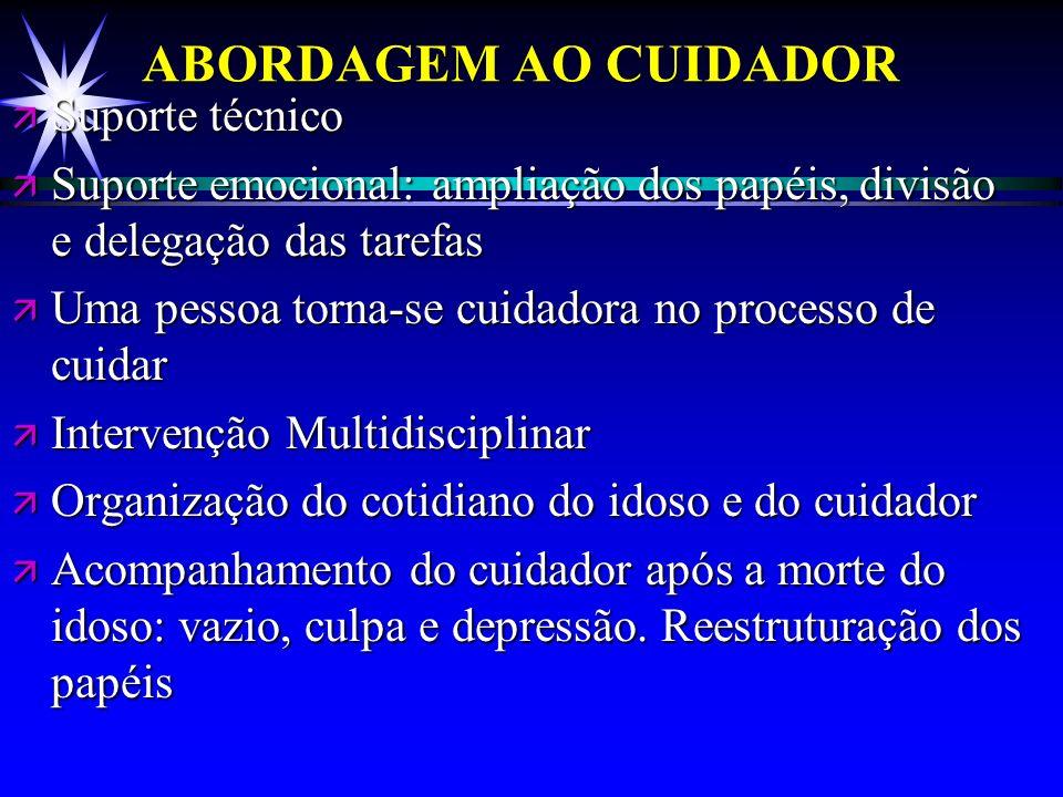 ABORDAGEM AO CUIDADOR Suporte técnico