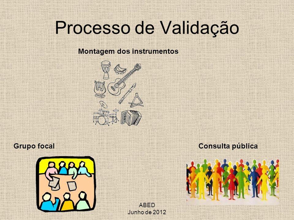 Processo de Validação Montagem dos instrumentos Grupo focal