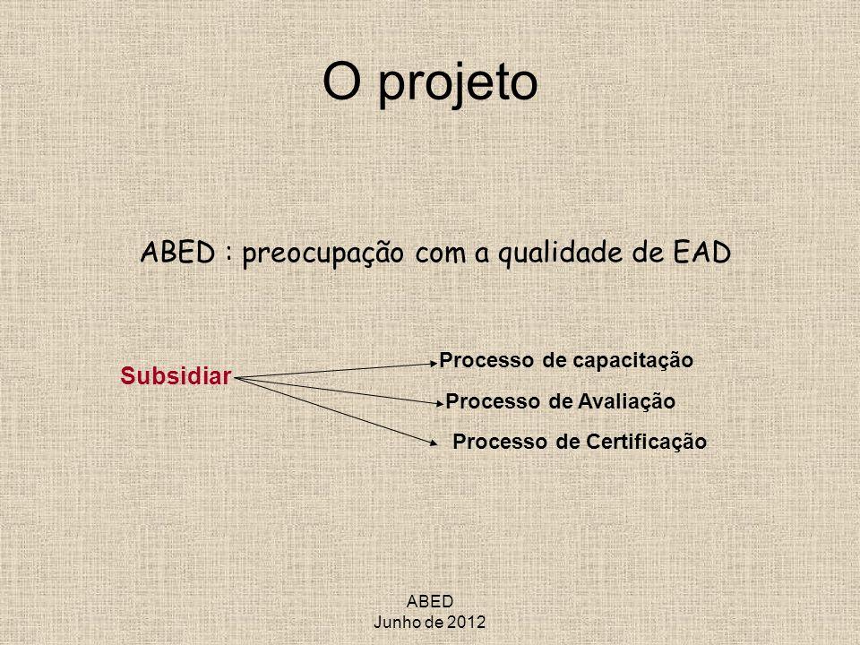 O projeto ABED : preocupação com a qualidade de EAD Subsidiar