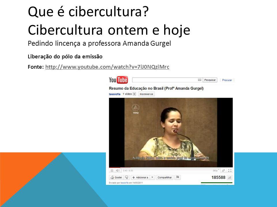Que é cibercultura Cibercultura ontem e hoje Pedindo lincença a professora Amanda Gurgel