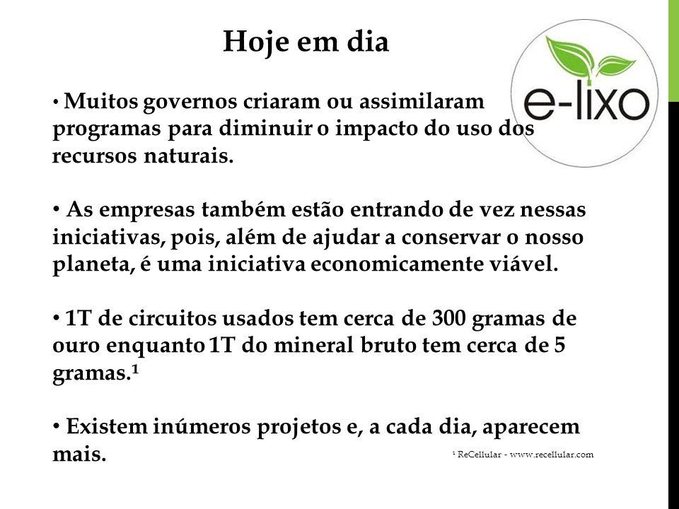 Hoje em diaMuitos governos criaram ou assimilaram programas para diminuir o impacto do uso dos recursos naturais.
