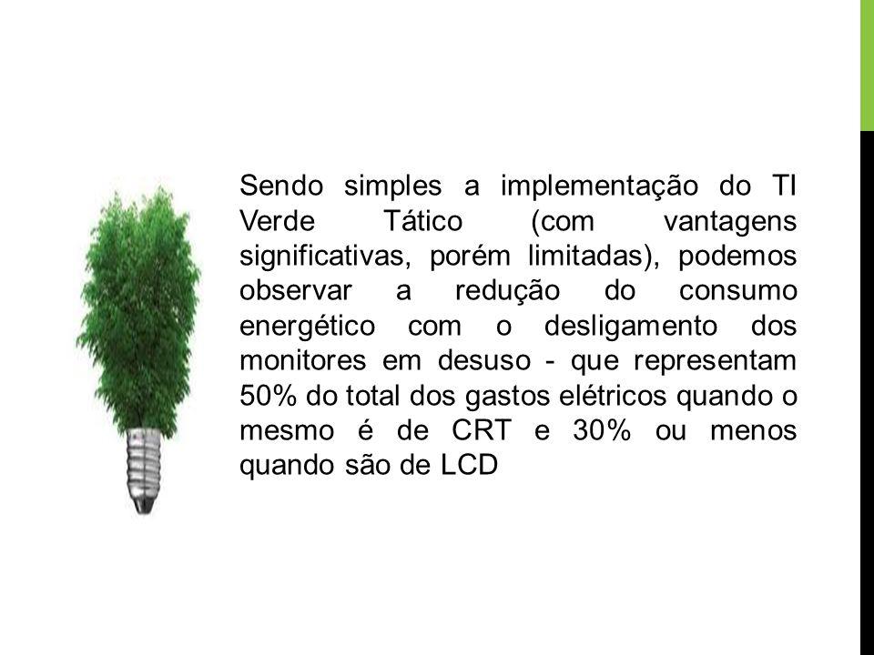 Sendo simples a implementação do TI Verde Tático (com vantagens significativas, porém limitadas), podemos observar a redução do consumo energético com o desligamento dos monitores em desuso - que representam 50% do total dos gastos elétricos quando o mesmo é de CRT e 30% ou menos quando são de LCD