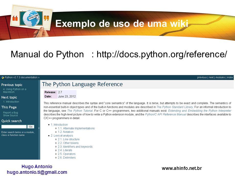 Exemplo de uso de uma wiki