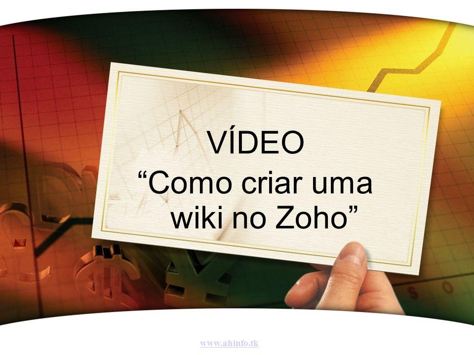 VÍDEO Como criar uma wiki no Zoho