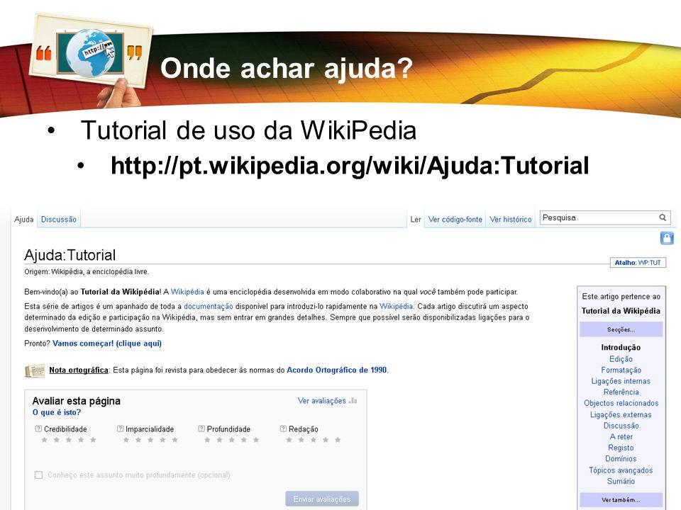 Onde achar ajuda Tutorial de uso da WikiPedia