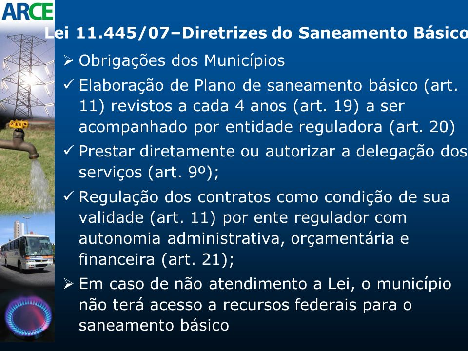 Lei 11.445/07–Diretrizes do Saneamento Básico