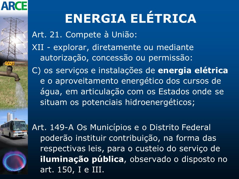 ENERGIA ELÉTRICA Art. 21. Compete à União: