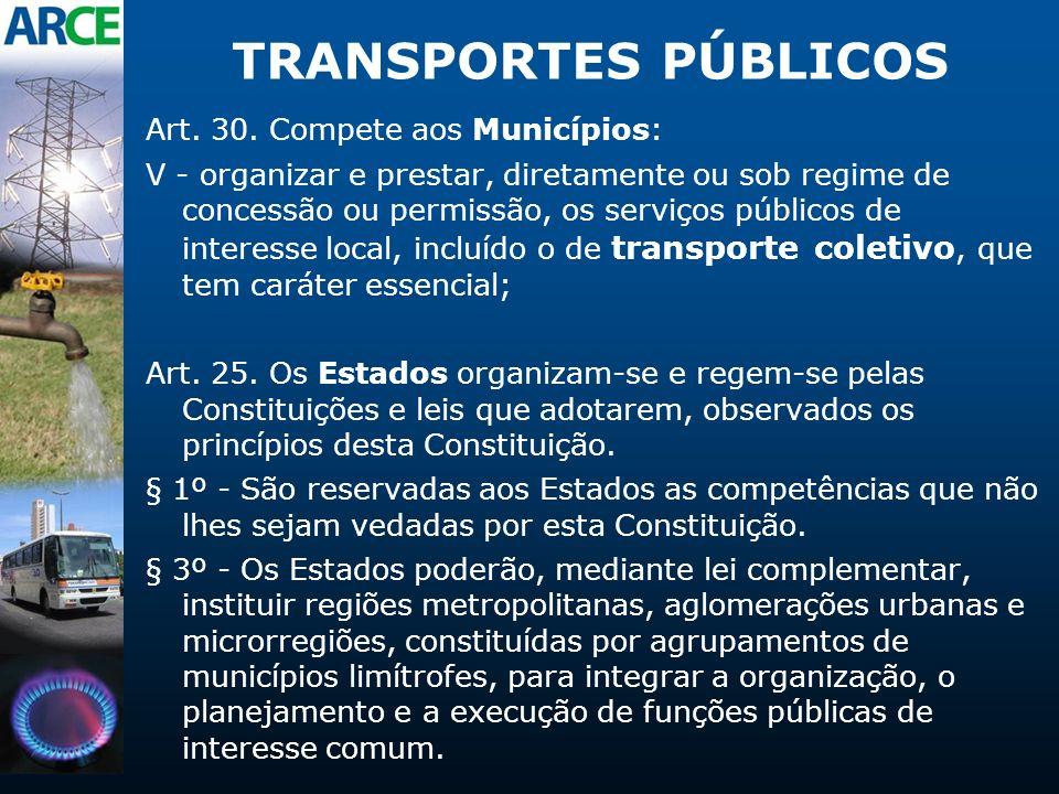 TRANSPORTES PÚBLICOS Art. 30. Compete aos Municípios: