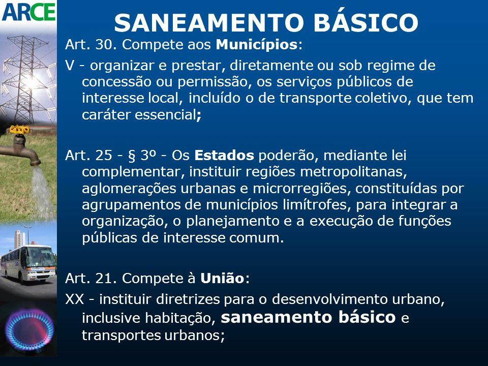 SANEAMENTO BÁSICO Art. 30. Compete aos Municípios: