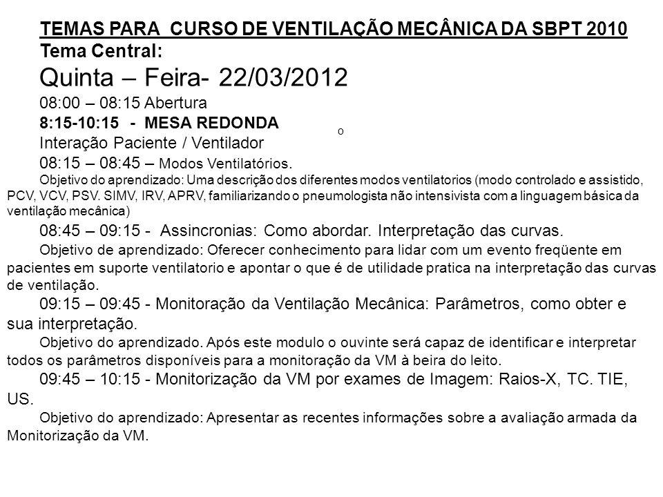 TEMAS PARA CURSO DE VENTILAÇÃO MECÂNICA DA SBPT 2010