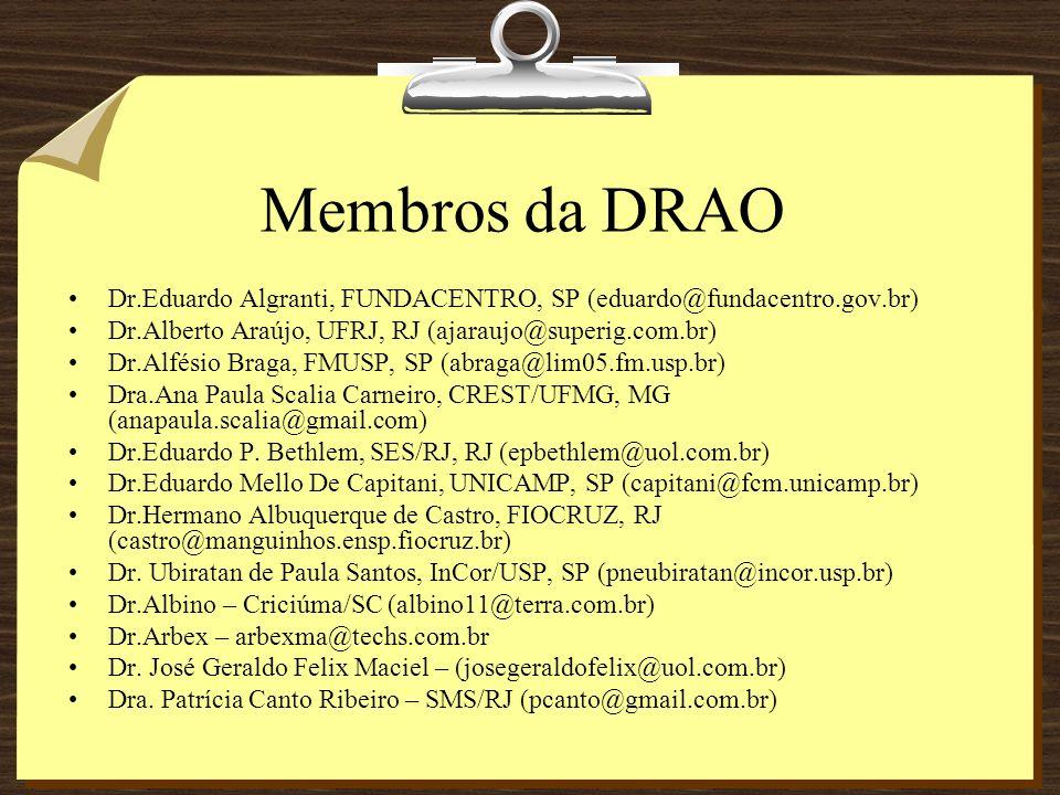 Membros da DRAO Dr.Eduardo Algranti, FUNDACENTRO, SP (eduardo@fundacentro.gov.br) Dr.Alberto Araújo, UFRJ, RJ (ajaraujo@superig.com.br)