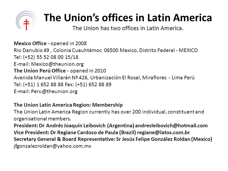 The Union's offices in Latin America The Union has two offices in Latin America.