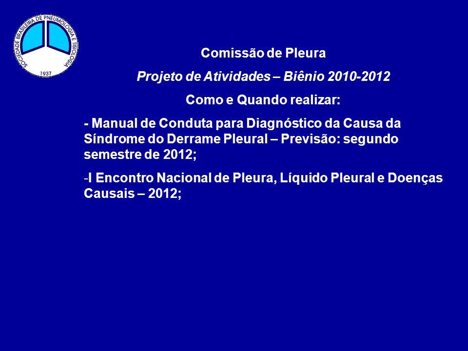 Projeto de Atividades – Biênio 2010-2012 Como e Quando realizar: