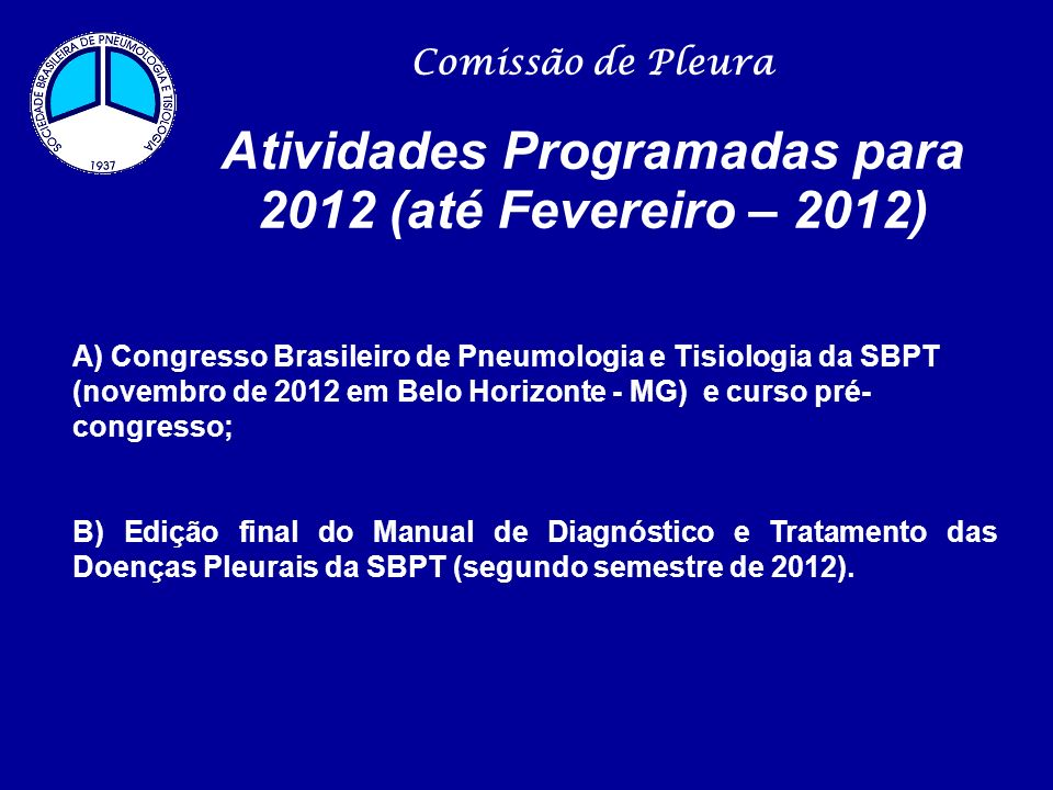 Atividades Programadas para 2012 (até Fevereiro – 2012)