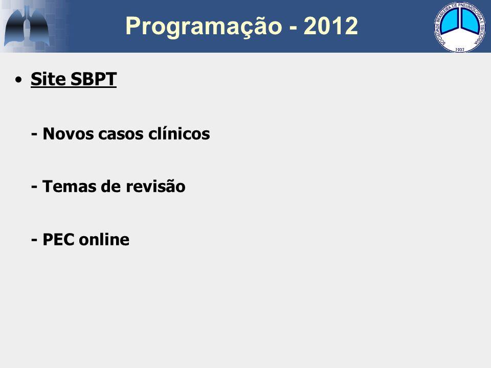 Programação - 2012 Site SBPT - Novos casos clínicos - Temas de revisão