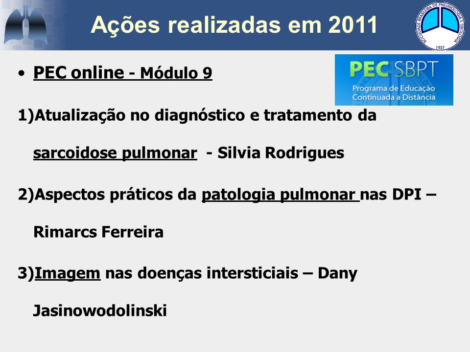 Ações realizadas em 2011 PEC online - Módulo 9