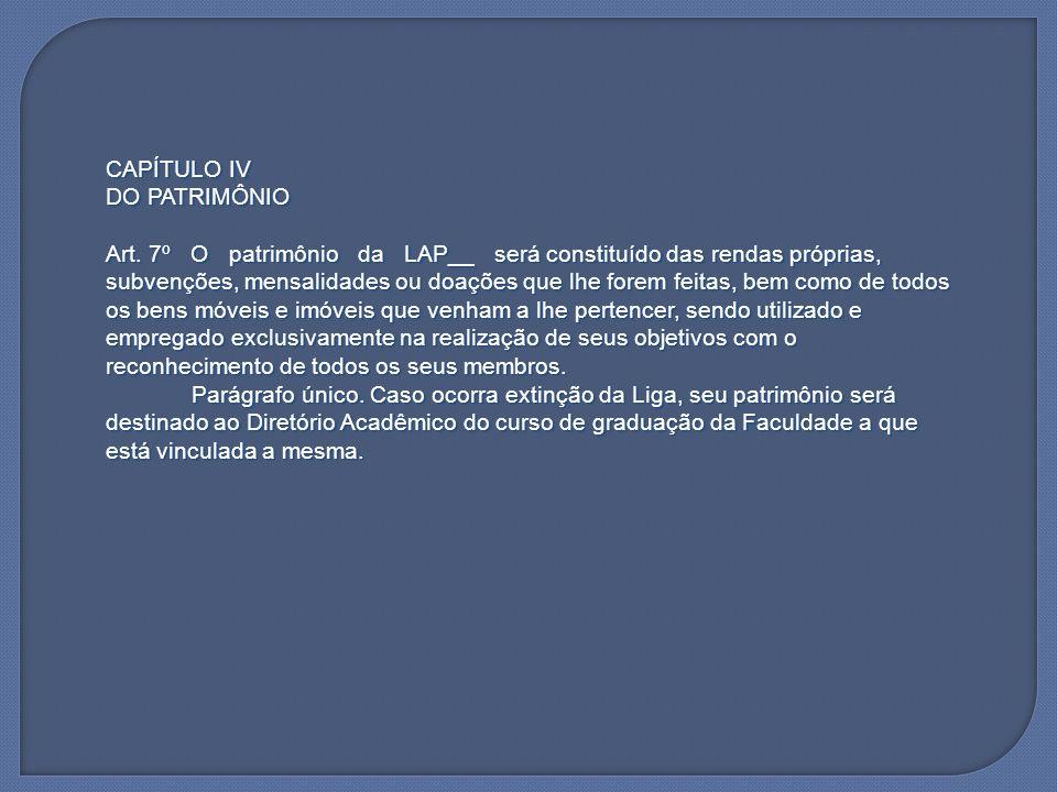 CAPÍTULO IVDO PATRIMÔNIO.