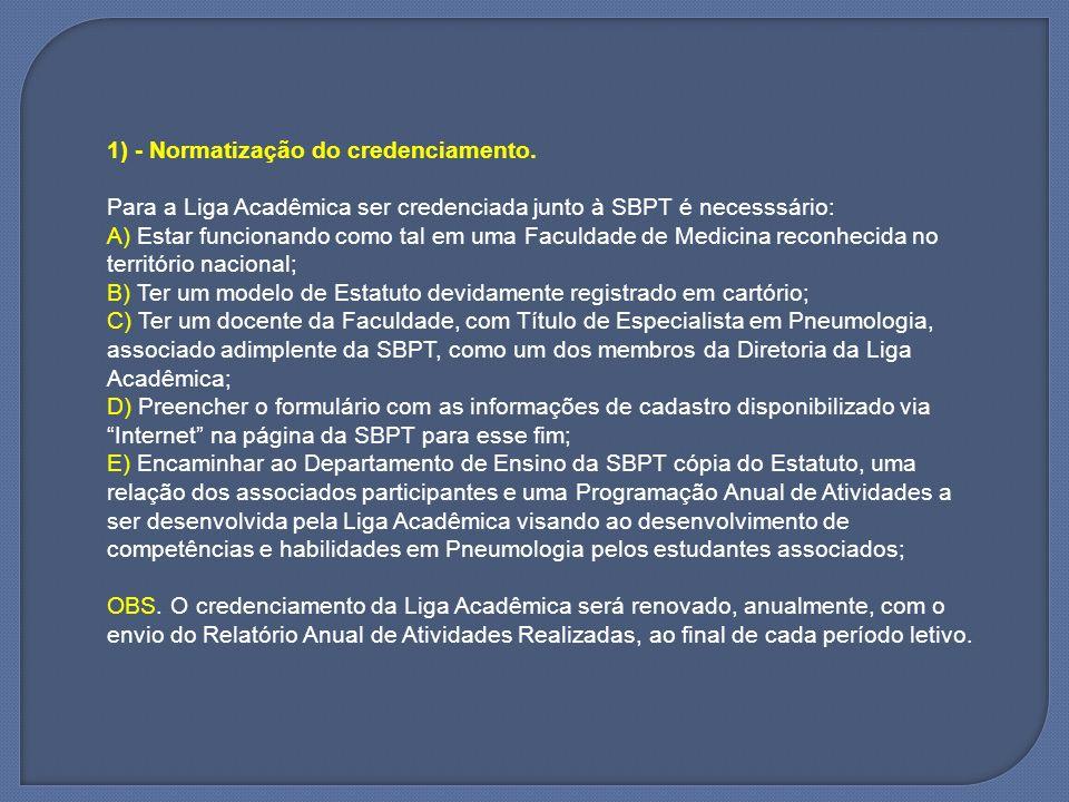 1) - Normatização do credenciamento