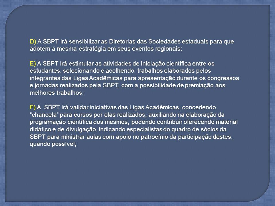 D) A SBPT irá sensibilizar as Diretorias das Sociedades estaduais para que adotem a mesma estratégia em seus eventos regionais;
