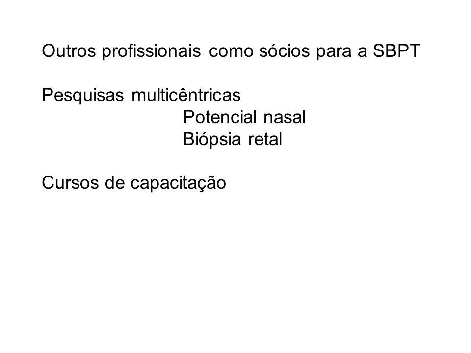 Outros profissionais como sócios para a SBPT