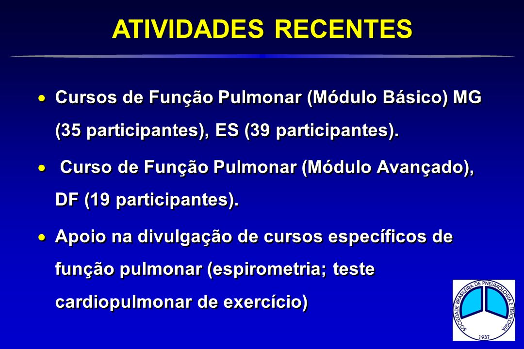 ATIVIDADES RECENTES Cursos de Função Pulmonar (Módulo Básico) MG (35 participantes), ES (39 participantes).