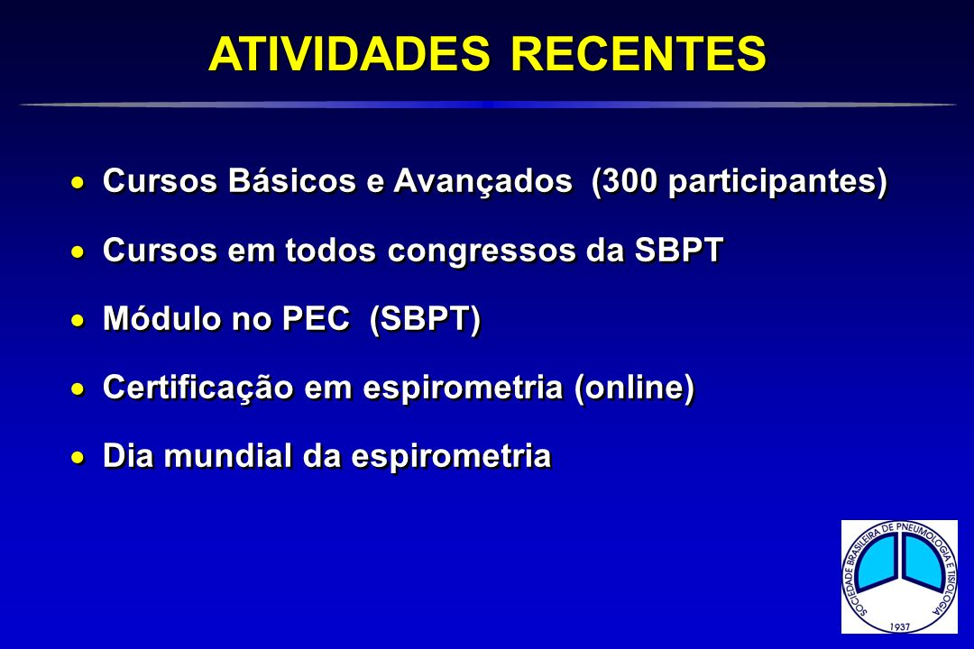 ATIVIDADES RECENTES Cursos Básicos e Avançados (300 participantes)